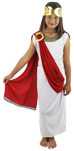 Kostüm Göttin Zubehör Athena - ILoveFancyDress Kinder-Kostüm, Motiv: Römische/Griechische Göttin, Kleid, Rote Schärpe und Kopfbedeckung, für Mädchen, von 4–14Jahre