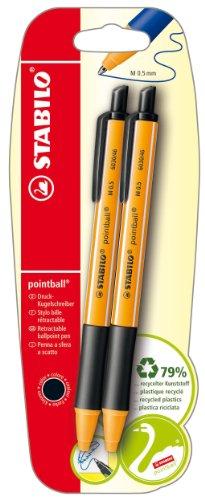 Umweltfreundlicher Druck-Kugelschreiber - STABILO pointball - 10 x 2er Pack - schwarz