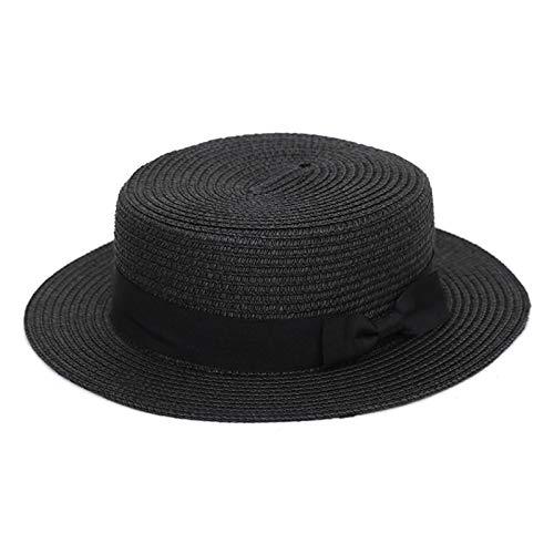 Elonglin Damen Mädchen Jungen Flacher Hut Schleife Strohhut Strand Sonnenhüte atmungsaktiv schnell trocknend Sommer im Urlaub Schwarz Kinder-Modell