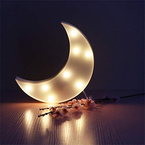 8 LED luces nocturnas, Luces en forma de luna, Lámparas LED de control remoto con pilas para la decoración del festival de la fiesta en casa (Blanco)