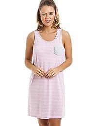 Chemise de nuit - sans manches/longueur genou - à rayures - gris et rose