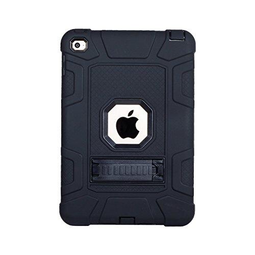 Yoomer Schutzhülle für iPad Mini 5 2019, iPad Mini 4 2015, dreilagig, strapazierfähig, kompletter Schutz, Stoßdämpfung, robuste Hybrid-Schutzhülle mit Ständer für iPad Mini 5/ iPad Mini 4, All Black