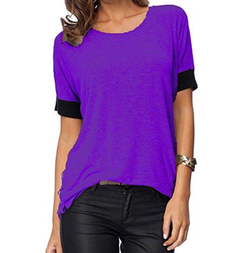 ZJCTUO Damen Rundhals Oberteil  Mode Lässig Sport Lose Tops O-Ansatz Kurzarm Atmungsaktiv T-Shirt- Gr. Lila, 36 (S) (Work Shirt Sleeve Jeans-short)
