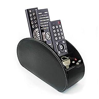 Fernbedienung Halter PU Leder TV Stift Bleistift Remote Organizer mit 5 Geräumigen Fächern für Wohnzimmer und Büro schwarz