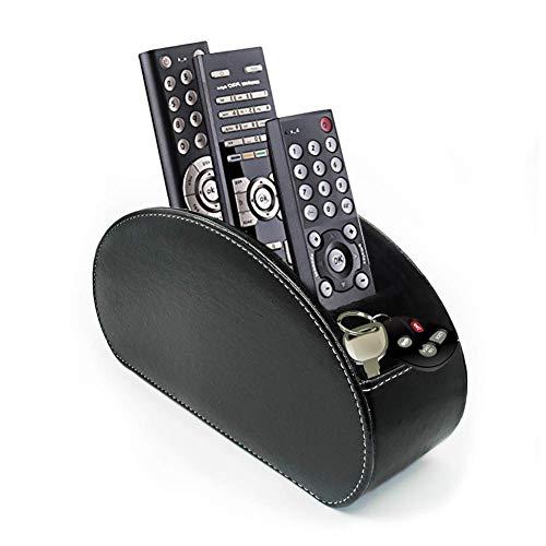 fosinz Mando a Distancia Soporte Organizador Piel Hilado Control de Almacenamiento Caddy TV Control Remoto Organizador con 5 Compartimentos espaciosos (Negro)