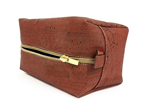 Bolsa de aseo SIMARU / neceser para hombres y mujeres - hecho de corcho / Piel de corcho vegana – Color Rojo oscuro