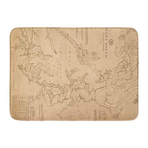 Washington-antik-karte (Bad Matte Washington antike Karte von Puget Vintage historische Geschichte olympischen Badezimmer Dekor Teppich)