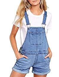 Happy Sailed Damen Kurz Jeanslatzhose Denim Overall Jumpsuit Playsuit Jeans Hosenanzug Romper S-XXL