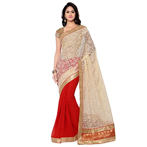 Florence Beige and Red Chiffon and Net Embroidered Saree
