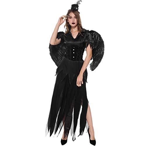 JXQ-N Engel Kostüm Damen Angel Hexe Cosplay Kostüm Fasching Gothic Schwarz Karneval Kleid Halloween, Allerheiligen Nacht, Fancy Dress Und Weihnachtsfeier Mit Flügeln