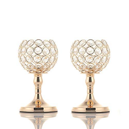 VINCIGANT Kerzenstaender Gold Vintage Deko für Dekoration Wohnung, Kristall 20cm&20cm Höhe