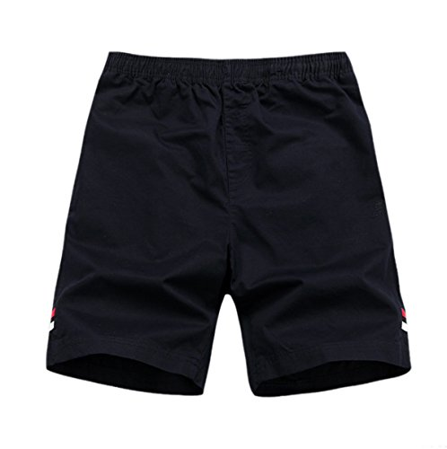 Estate Di Sesso Maschile Cinque Di Cotone Pantaloni Vita Sciolti Sottile Traspirante Colore Solido Pantaloncini Da Spiaggia Blue