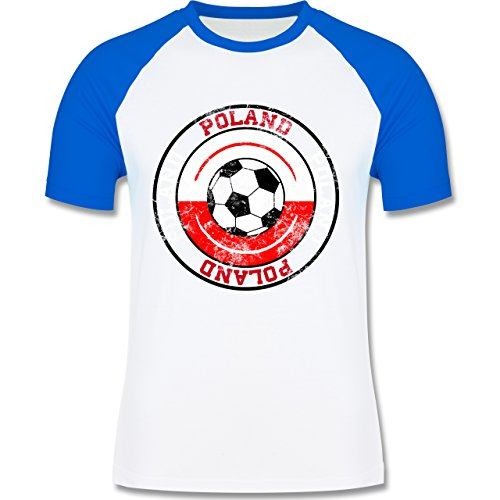 EM 2016 - Frankreich - Poland Kreis & Fußball Vintage - zweifarbiges Baseballshirt für Männer Weiß/Royalblau