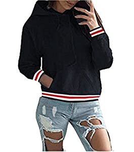 ASSKDAN Damen Kapuzenpullover Sweatshirts Hoodie Sport Oversize Outerwear Pullover Herbst (42, Schwarz)