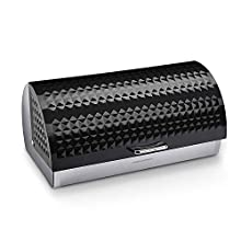 Morphy Richards Dimensions Roll Top Bread Bin with Stainless Steel Body, Black