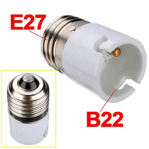 Think3 B22 to E27 Screw Base Socket Lamp Holder Light Bulb Adapter (Brass)
