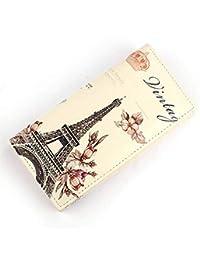 ¡Ofertas! Scpink Mujer larga de cuero de la PU París Diseño escénico Botón Monedero