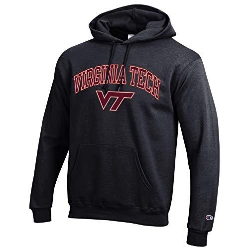 eLITe NCAA Herren Kapuzenpullover, Schwarz, Herren, Hoodie Sweatshirt Black Arch, Virginia Tech Hokies Black, Medium -