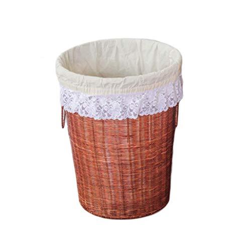 ZHAOSHUNLI Panier à linge Panier à linge, panier de rangement, poignée en rotin, sans couvercle (Color : Brown, Size : M)
