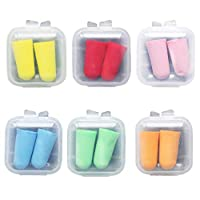 Freshsell 2Pcs/Pair Soft Foam Ear Plugs Tapered Travel Sleep Noise Cancelling Hearing Protection Sponge Candy Color Earbuds Reusable Portable With Storage Box