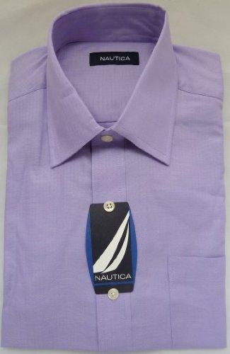 mens-shirt-nautica-designer-luxury-pure-cotton-rrp-55-lavender-herringbone-regular-collar-165-32-33-