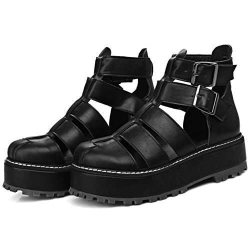 COOLCEPT Damen Mode Ankle Sandalen Geschlossene Flatform Schuhe Schwarz
