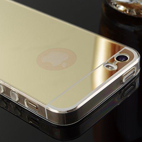 FindaGift iPhone SE 5SE 5 5S Hülle, Ultra Slim Passen Stoßfest TPU Stoßfänger Frame mit Spiegel Bewirken PC Snap-On Back Handycover Case Schutz Shell Anti-Kratzer für iPhone SE 5SE 5 5S Schwarz Schwarz