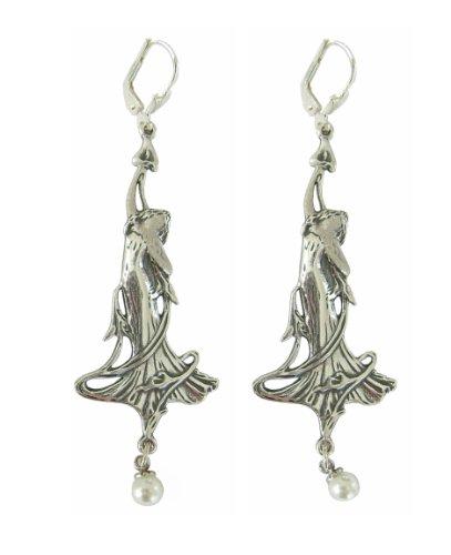 Damen Ohrringe Lilien 925 Silber Jugendstil Schmuck