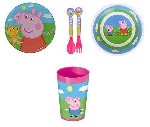 Peppa Pig Assiette, bol, gobelet et couverts