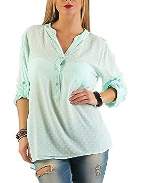 Danaest - Camisas - Túnica - Lunares - Clásico - Manga Larga - para mujer