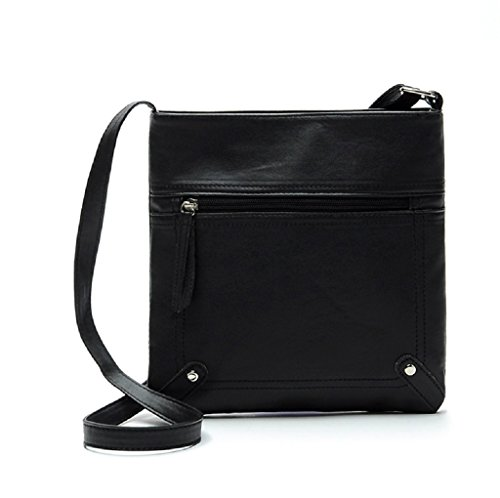 Borsa Familizo Elegant Leather Satchel delle donne di modo di Crossbody spalla borsa Messenger Bag Nero