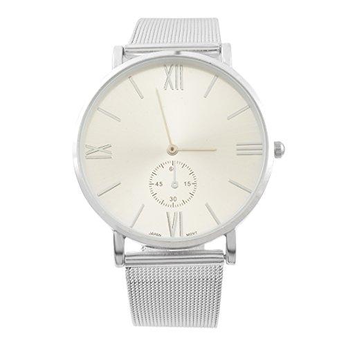 Souarts Paar Armbanduhr Damen Deko Quarz Uhr mit Batterie Charm Geschenk Silber Farbe