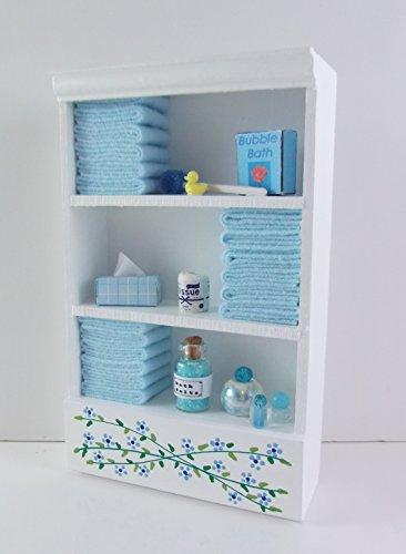Preisvergleich Produktbild Puppenhaus Miniatur Badmöbel Regal L Blau Handtücher & Zubehör
