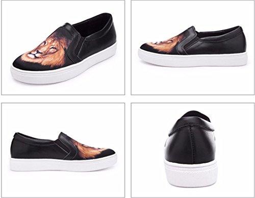QIYUN.Z 3D De La Mode Des Femmes Imprimes Roche Vachette Plat Patin Casual Mocassin Chaussures Simples Lion Noir
