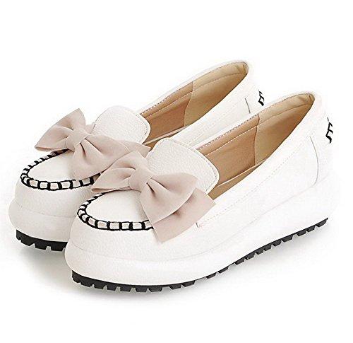 AllhqFashion Femme Pu Cuir à Talon Correct Rond Couleur Unie Tire Chaussures Légeres Blanc