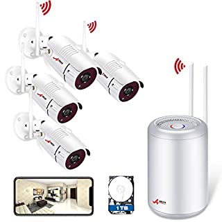 Wireless Security Camera System, 4CH Home Security Camera System with 4pcs 1080P HD WIFI CCTV IP Cameras, Outdoor Waterproof,Plug & Play, Motion Detection & Remote View with 1TB Hard Drive ANRAN
