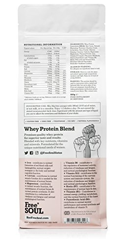 Free Soul Whey Protein Powder Blend – Formulated for Women | The 80% Whey Protein Powder Blended with Natural Ingredients Supports Female Nutrition, Hormone Balance, Mood and Energy | Gluten and Soy Free Protein Shake (600g) (Chocolate)