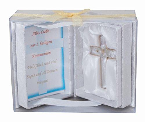 Kreuz Glaskreuz | Erste Heilige Kommunion | 1. heiligen Kommunion | Buch mit Kreuz in PVC-Box | 16,5 x 12,5 cm (Die Erste Kommunion Kreuz)