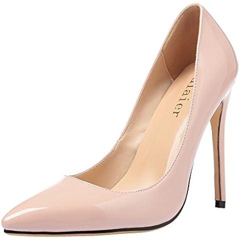 Calaier Donna Caearly Donne Lusso Dimensioni Alta Qualità Sposa Toe Alto Tacco Spillo Calza Pompe 12CM Tacco A Spillo Scivolare Su Scarpe col tacco