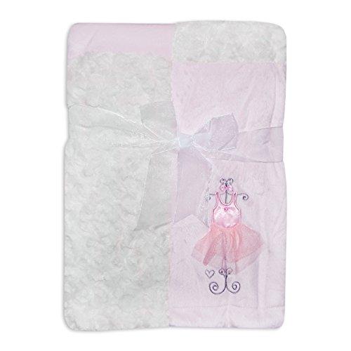 Bambina in Morbido Velluto Pannello Boutique-Coperta in rosa con ballerina Tutu ricamato da Rock a Bye Baby