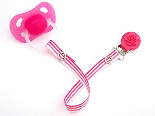 Preisvergleich Produktbild Schnullerband mit rundem Clip, für Mädchen, gestreift, Rosa