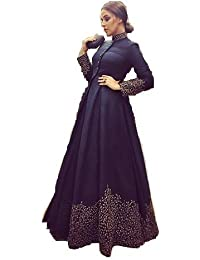 Women's Gown Latest Party Wear Designer Net Silk Embroidery Semi Stitched Free Size Salwar Suit Dress Material...