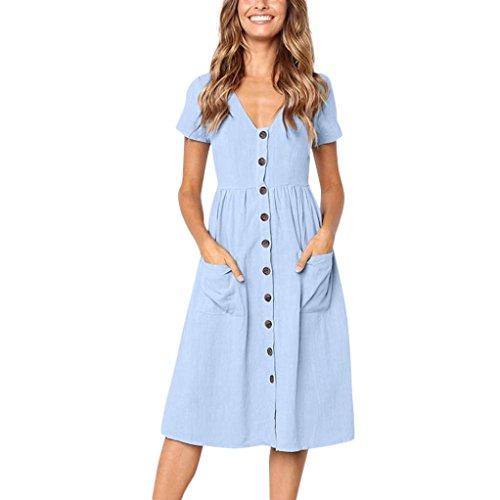 Sommerkleid Damen Kleider LHWY Frauen Teen Mädchen Partykleid Holiday Summer Beach Solide Kurze Ärmel Tasten Kurzarm Knopf Casual Kleid (M, Blau)