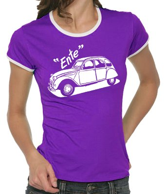Touchlines - T-shirt Youngtimer da donna, disegno: Citroen modello 2 cavalli Ente, taglie S - XL Colore - Lilla