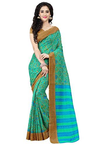 Applecreation Women's Jute Cotton Saree (Green_2Aly141_Free Size)