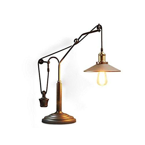 Tiffany Bronze-finish (XHJJDJ Schmiedeeisen Flaschenzug Tischlampen - Schreibtischlampe mit Metallschirm mit Inline-Schalter - Industrie - Bronze Finish (Farbe : Bronze))