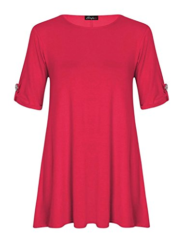 Frauen Plus Größe Aufdrehen Knopf Ärmel Kleid Schwingen Fuchsie