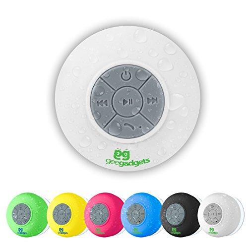 Portátil Altavoz Bluetooth Ducha con Ventosa–resistente al agua, construido en micrófono, universal teléfono y tableta compatibilidad–4opciones de color–por Gee Gadgets