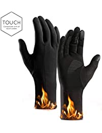 DIOSN Winter Smart Touch Screen Gloves for Men - Stretch Fit Windproof Full Finger Gear Gloves Black Ski Gloves for Motorcycle Cycling Climbing Running Hiking Ourdoor