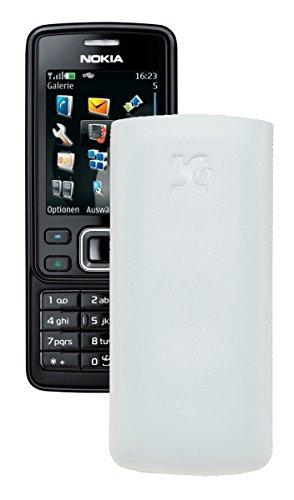 Suncase® Tasche für / Nokia 6300 - 6300i / Leder Etui Handytasche Ledertasche Schutzhülle Case Hülle *Lasche mit Rückzugfunktion* in weiss